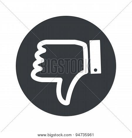 Monochrome round dislike icon