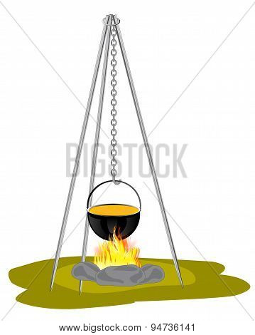 Caldron on campfires