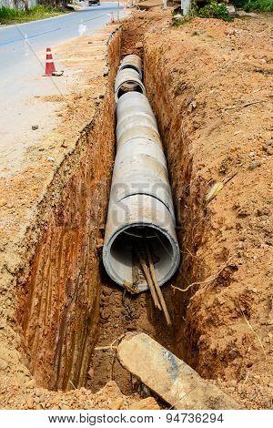 Concrete Pipeline Construction Site