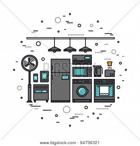 Smart Home Appliances Line Style Illustration