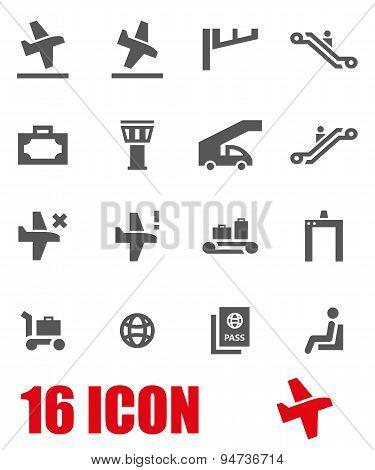 Vector grey airport icon set