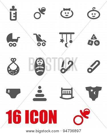 Vector grey baby icon set
