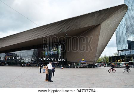 Rotterdam, Netherlands - May 9, 2015: Passengers At Rotterdam Central Station