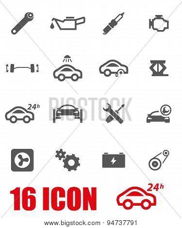 Vector grey car service icon set