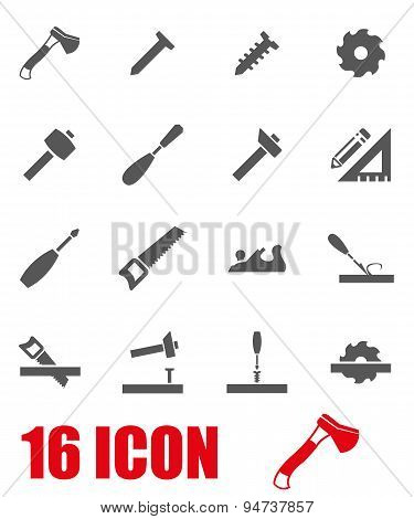 Vector grey carpentry icon set