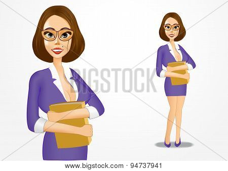 realisctic business woman with folder