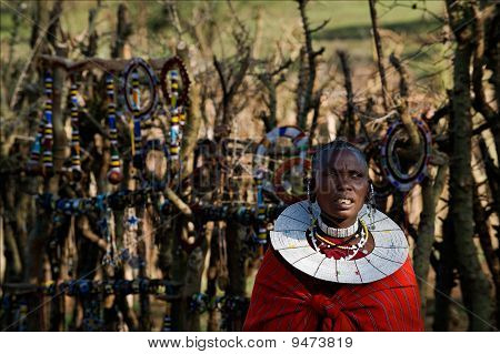 Masai Woman With Ornaments.