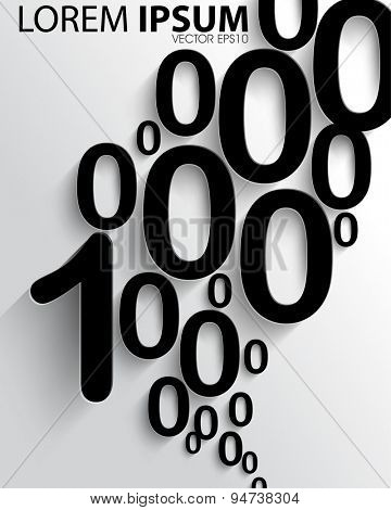 numbers one and zero abstract business elements eps10 vector