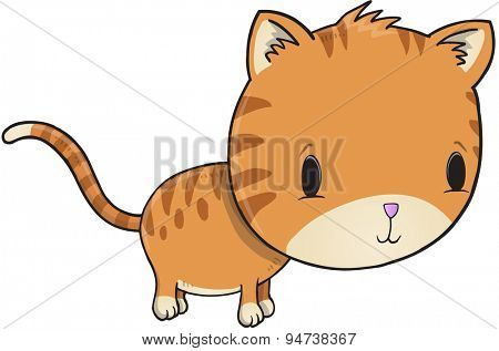 Cute Kitten Vector Illustration Art