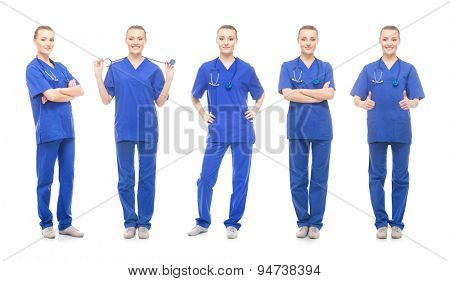 Young, attractive medical worker isolated on white. Collection of doctor in different poses.