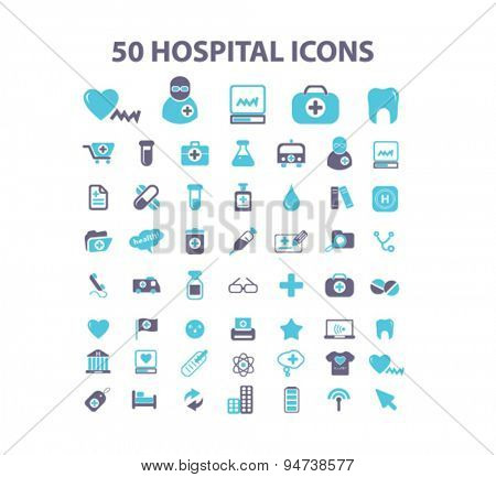 hospital, medicine isolated icons, signs, illustrations on white background for website, internet, mobile application, vector