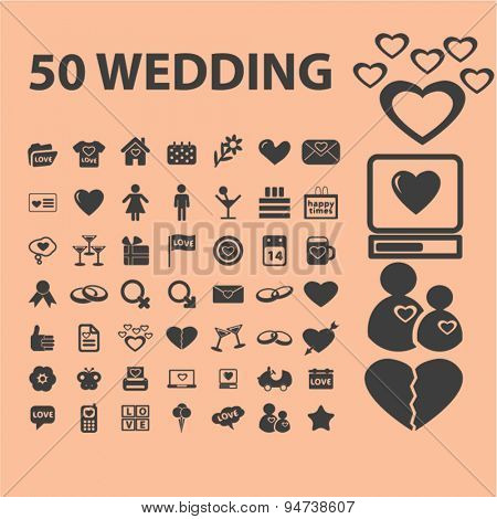 wedding icons, illustrations