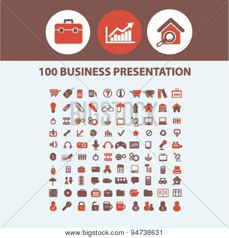 business presentation icons, illustrations