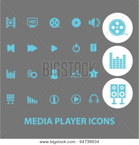 media player icons, illustrations