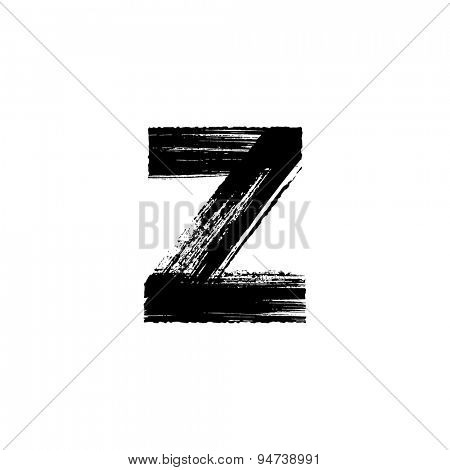 Vector hand paint letter z. Hand drawn letter with dry brush. Lower case