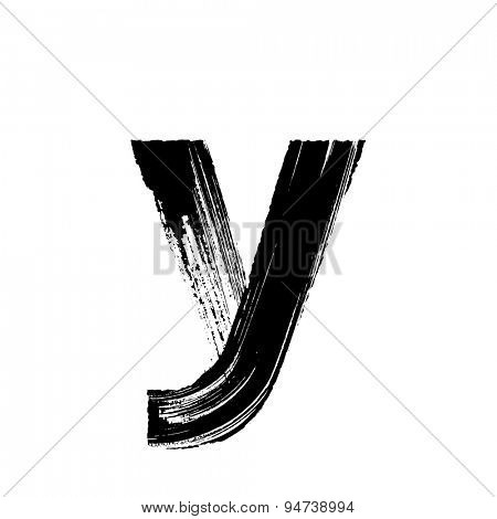 Vector hand paint letter y. Hand drawn letter with dry brush. Lower case