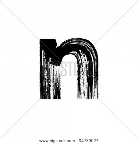 Vector hand paint letter n. Hand drawn letter with dry brush. Lower case