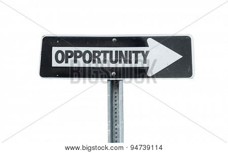 Opportunity direction sign isolated on white