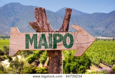 Maipo wooden sign with winery background
