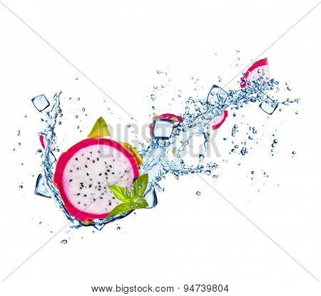 Dragon fruit with water splashes and ice cubes isolated on white background