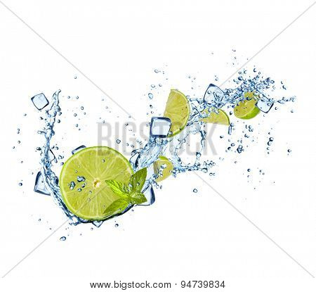 Limes slices in water splashes and ice cubes isolated on white background