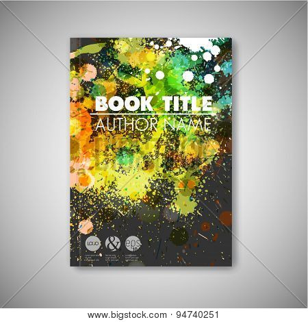 Modern artistic Vector abstract book cover template with color ink blots - dark version