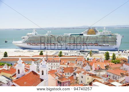 View of big passenger ship in Lisbon port from Alfama Miradouro