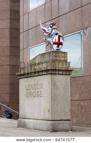 LONDON, UK - JUNE 23: City of London dragon in London Bridge. June 23, 2015 in London.