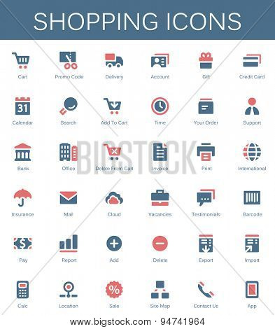 Shopping services and finance tools icons. Modern vector pictograms