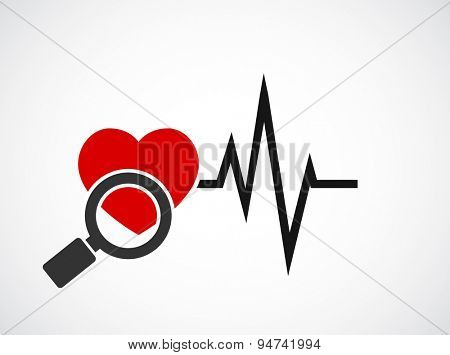 analizing with magnifying glass cardiogram heart concept icon