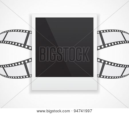photo card frame on abstract film roll 3d background