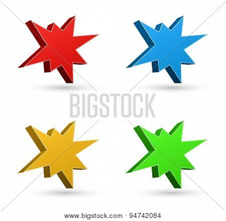 splash starburst icon 3d set