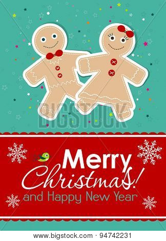 Template Christmas greeting card, gingerbread, vector illustration