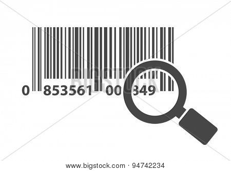 barcode with magnifying glass icon concept
