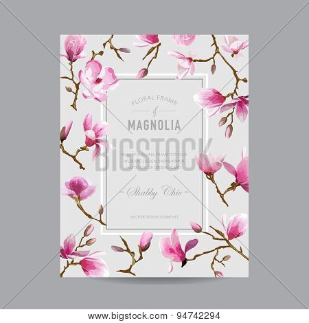 Vintage Floral Magnolia Frame - for Invitation, Wedding, Baby Shower Card - in vector