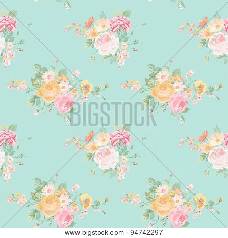 Vintage Flowers Background - Seamless Floral Shabby Chic Pattern - in vector