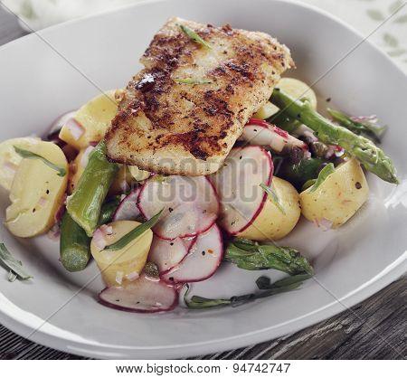 Fried Cod Fillet with Vegetables