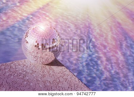 Pool party - club flyer concept - disco ball