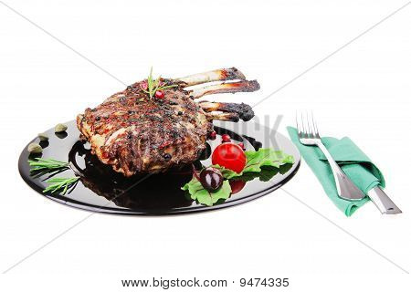 Grilled Ribs Rack Over Plate