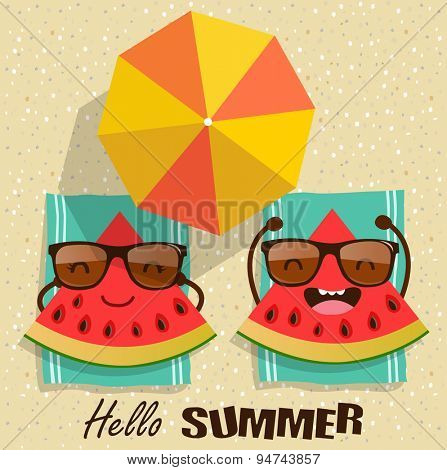 Summer. Vector watermelons cartoon character illustration.