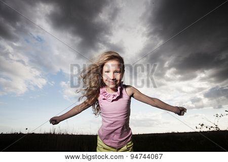 Happy girl at summer. Crazy child