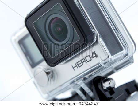 MOSCOW, RUSSIA- june 29, 2015: GoPro Hero 4 Black Edition isolated on white background.manufactured by GoPro Inc.pro,