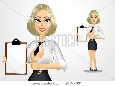 beautiful businesswoman holding clipboard