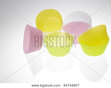 colorful cupcake wrapper on the white background