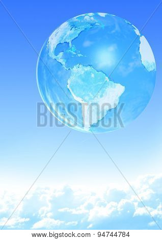 Earth and white clouds on blue sky background. Elements of this image furnished by NASA