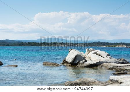 Beautiful Karidi beach with naturally sculpted stone