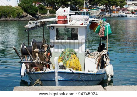 Small fishing boat in a port