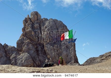 Italian Flag On Marmolada Mountain