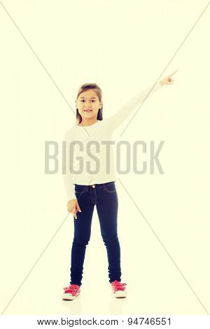 Little girl pointing on something