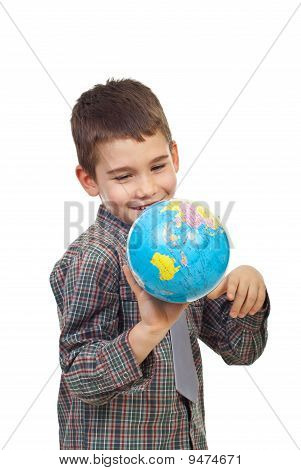 Preschool Boy Playing With A Globe